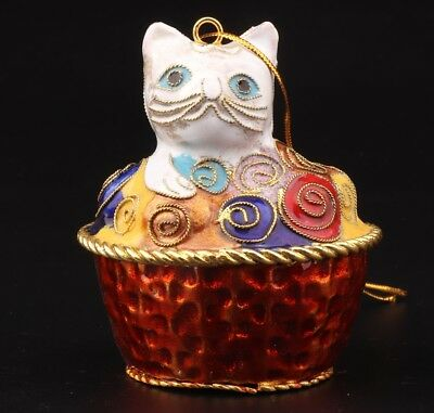 Cloisonne Enamel Pinch Silk Hand Carving Cat Statue Christmas Decoration Gift