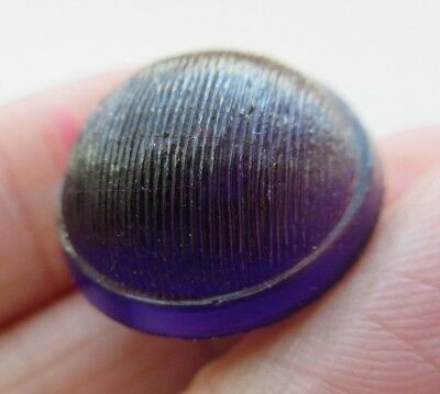 Incredible Antique 19th C Leo Popper GLASS BUTTON Amethyst w/ Key Shank (H4)
