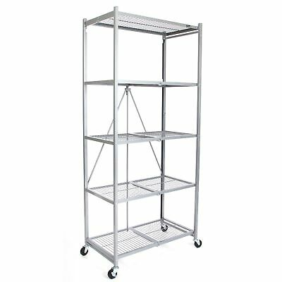 Origami 5 Tier Collapsible  Household General Purpose Shelf and Rack, Platinum