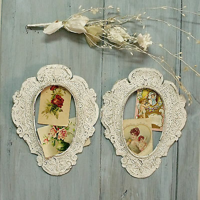 Vintage ornated brass aged frames white painted pair wall hanging shabby decor