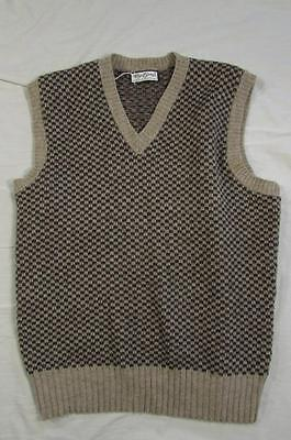 Vtg 60s 70s Allyn St. George Wool & Acrylic Checkered V Neck Sweater Hollywood