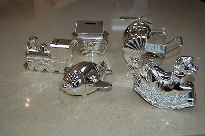 Boxed Silver Plated Money Box Baby/Child Assorted Designs Great Gift (M6)