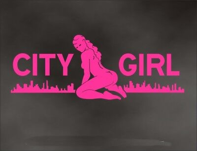 Sexy GIRL  Decal CITY GIRL pin up for bad girl bumper sticker PINK