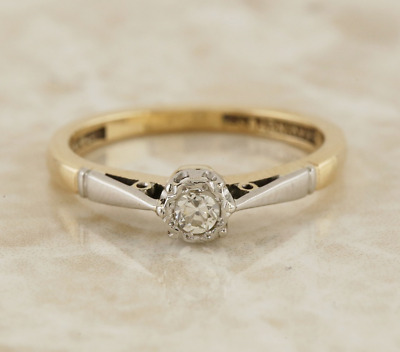 Vintage Diamond Solitaire Ring 9ct Yellow Gold, Platinum Size L 1/2
