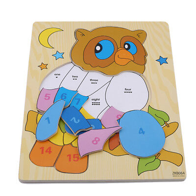 Wooden Owl Elephant Animal Puzzle Jigsaw Kids Baby Early Development Gifts CB