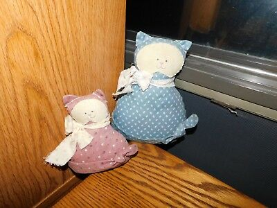 Handmade Small Stuffed Cats Pink and Blue