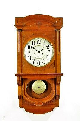 Antique German Art Nouveau Junghans Spring Driven Wall Clock Berliner Style 1920