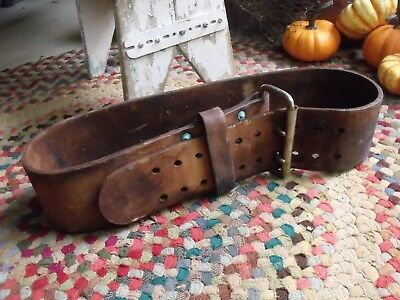Old Primitive Vintage or Antique Leather Weight Lifter's Weight Belt