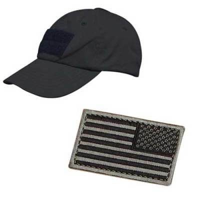 Condor Tactical Cap Hat Black TC-002 w  Two American Flag Patches Included 1e3d54122a99