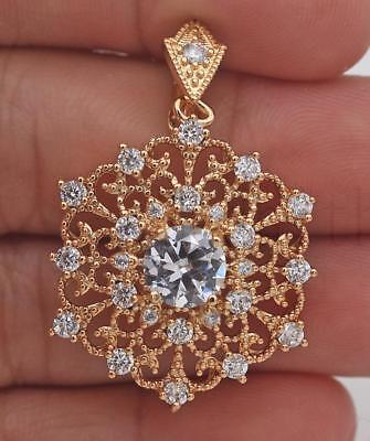 18K Gold Filled - Women Gems Zircon Noble Hollow Swirl Flower Pendant Cocktail