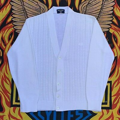 Vintage Fred Perry Cable Knit Off White Knitted Button Up Cardigan, Size L.
