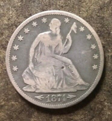 1874 Arrows at Date Seated Liberty Silver 50C Half Dollar Coin - No Reserve