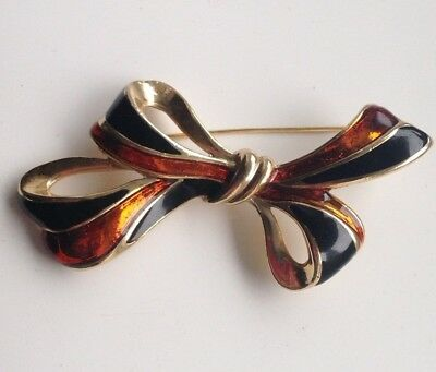Vintage Art Deco Style Jewellery Stunning Large Bow Guilloche Enamel Brooch Pin