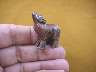 (Y-WOL-1) red gray WOLF coyote wild dog carving SOAPSTONE stone PERU FIGURINE