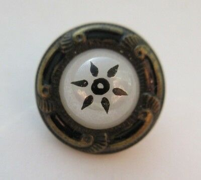 "Very Nice Antique~ Vtg Victorian GLASS in Metal BUTTON w/ ENAMEL Top 3/4"" (i10)"