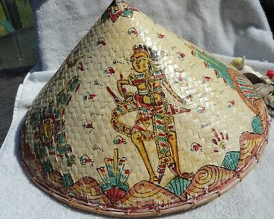Vintage Conical Asian Art Rice Bamboo Coolie Hat Hand Painted