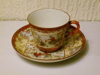 Antique Signed Japanese Meji Period Kutani Porcelain Tea Cup And Saucer c1880