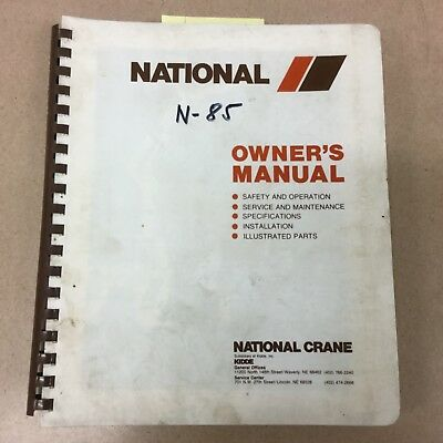 National N85 TRUCK CRANE SERVICE MANUAL PARTS OPERATION MAINTENANCE KNUCKLE BOOM
