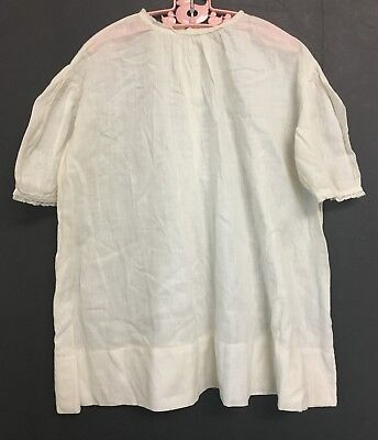 Vintage Toddlers Girls Large Doll Off White Dress Night Gown w/ Lace Trim