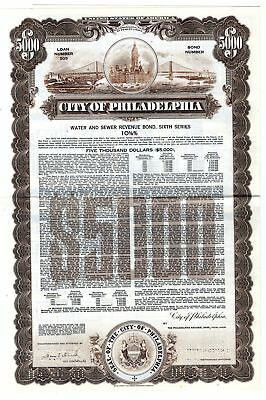 City of Philadelphia, 1980 Specimen Bond
