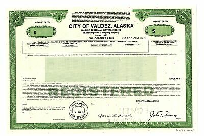 City of Valdez, Alaska, 1985 Specimen Bond