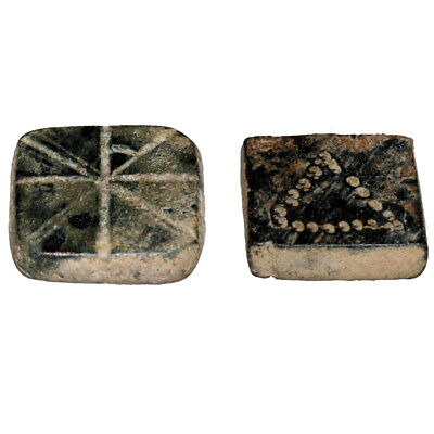 Lot Of 2 Intact Byzantine Square Bronze Decorated Weights Ca 500-900 Ad