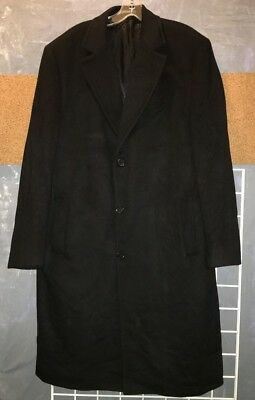 "Cardinal of Canada 100% cashmere long black overcoat 42T 47"" long"