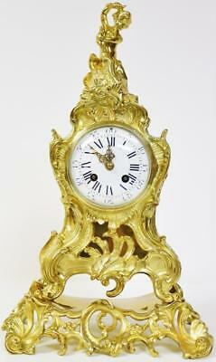 Stunning Antique 19thc French 8 Day Ornate Pierced Embossed Bronze Mantel Clock