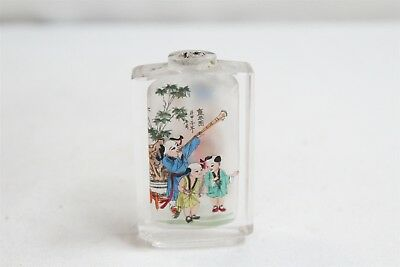Vintage Chinese Reverse Painted Father 2 Boys Plants Glass Snuff Bottle Signed