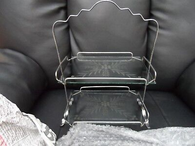 vintage Beautiful  Art Deco 1930s two tier chrome and glass cake stand