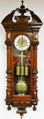 Antique 8Day 3 Weight Carved Mahogany Grand Sonnerie Vienna Regulator Wall Clock