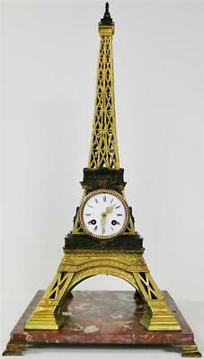Very Rare Antique Bronze Huge Architectural Eiffel Tower French Mantle Clock