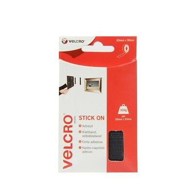 VELCRO Brand Heavy Duty Stick On Strip No More Nails Or Screws 20mm x 50cm Black