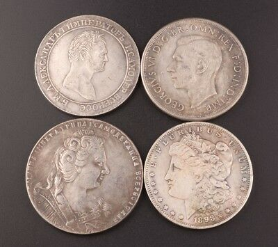 4 Rare Silver-Plated Copper Commemorative Coins Old Antique Collection