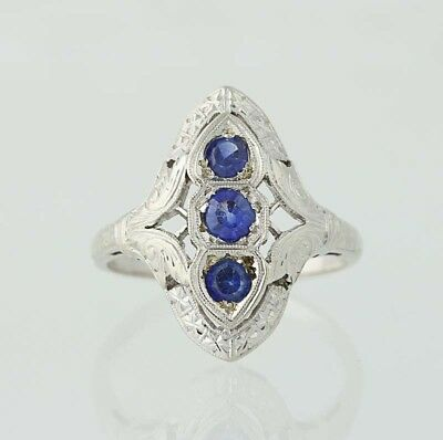 .64ctw Synthetic Sapphire Art Deco Ring - 14k White Gold Three-Stone Vintage