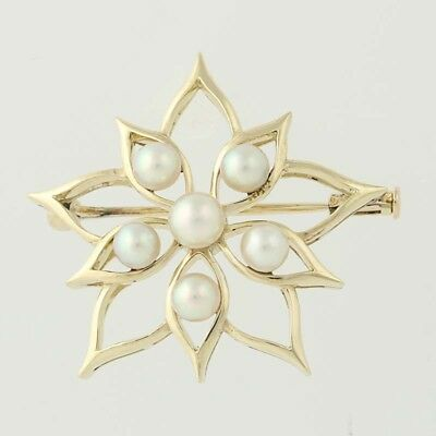 Cultured Pearl Flower Brooch - 14k Yellow Gold Pin June Gift