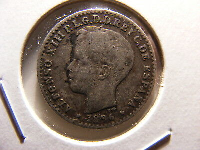 Puerto Rico 1896 Silver 10 Centavos, VF, One Year Type Coin
