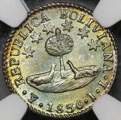 1830 NGC MS 64 BOLIVIA Silver 1/2 Sol Toned Bolivar Coin (17101101D)