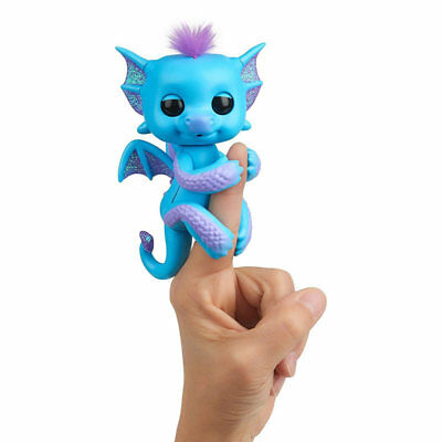 WowWee Fingerlings Baby Dragon Tara - Blue - Electronic Interactive Finger Pet