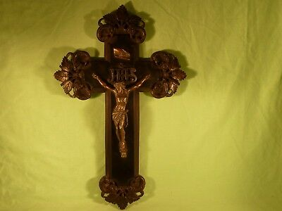 Antique Black Forest Style Carved Wooden Crucifix Spelter Jesus Christ French