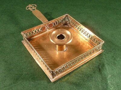 Antique Arts & Crafts Pierced Edge Square Brass Chamberstick Candlestick
