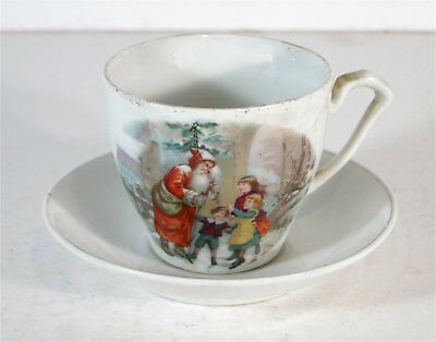 1880s SANTA CLAUS BELSNICK VICTORIAN CHRISTMAS SOUVENIR CHINA CUP AND SAUCER