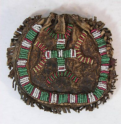 1890s NATIVE AMERICAN SIOUX INDIAN BEAD DECORATED HIDE POUCH - SMALL BAG