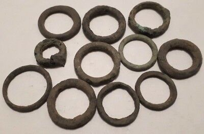 Lot Of 11 Ancient Celtic Bronze Proto Coins Gaul Ring Money 800 - 500 Bc