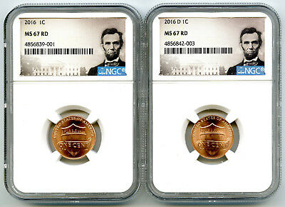 2016 P & D Cent Ngc Ms67 Union Shield 2 Coin Lincoln Label Set - You Get Both