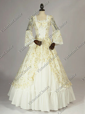 Renaissance Christmas Holiday White and Gold Vintage Wedding Gown Dress 133 XXL