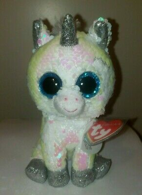 "Ty FLIPPABLES ~ DIAMOND the Unicorn Changing Sequins 6"" Beanie Boos NEW & RARE"