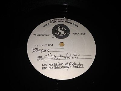 """The System-This is For You-TEST PRESSING 12""""  Vinyl Record"""
