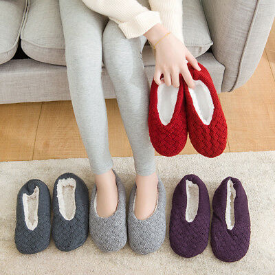 Women Winter Warmer Knitted Wool Slippers Soft Non Slip Indoor House Flat Shoes