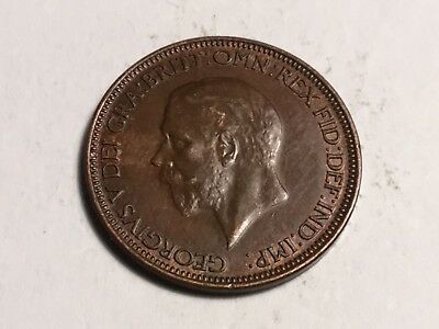 GREAT BRITAIN 1928 1/2 Penny coin extra fine/about uncirculated
